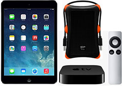 Apple's iPad mini with Retina Display, Silicon Power A30, and Apple TV with Remote