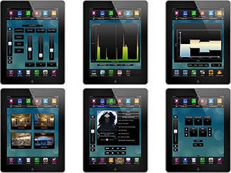 <p>Screens from Savant Systems' TrueControl iPad App. Clockwise from top left: lighting, energy monitoring, climate control scheduling, pool &amp; spa, media, and security cameras.