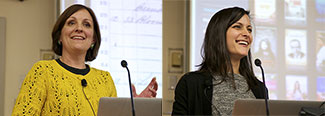 Janet Hauge and Erica Bess (left and right) of the Princeton Public Library—photos from the January 2013 meeting