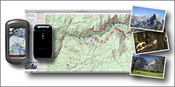 Screenshot of PhotoLinker, photos from Yosemite National Park, a Garmin Oregon 550t GPS reciever, and AMOD AGL3080 Data Logger GPS receiver.