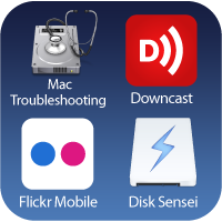 Application icons for Disk Utility, Downcast, Flickr Mobile, and Disk Sensei