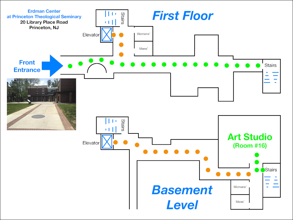 Floorplan of the PTS Erdman Center, and how to reach the Art Studio (Room #16)